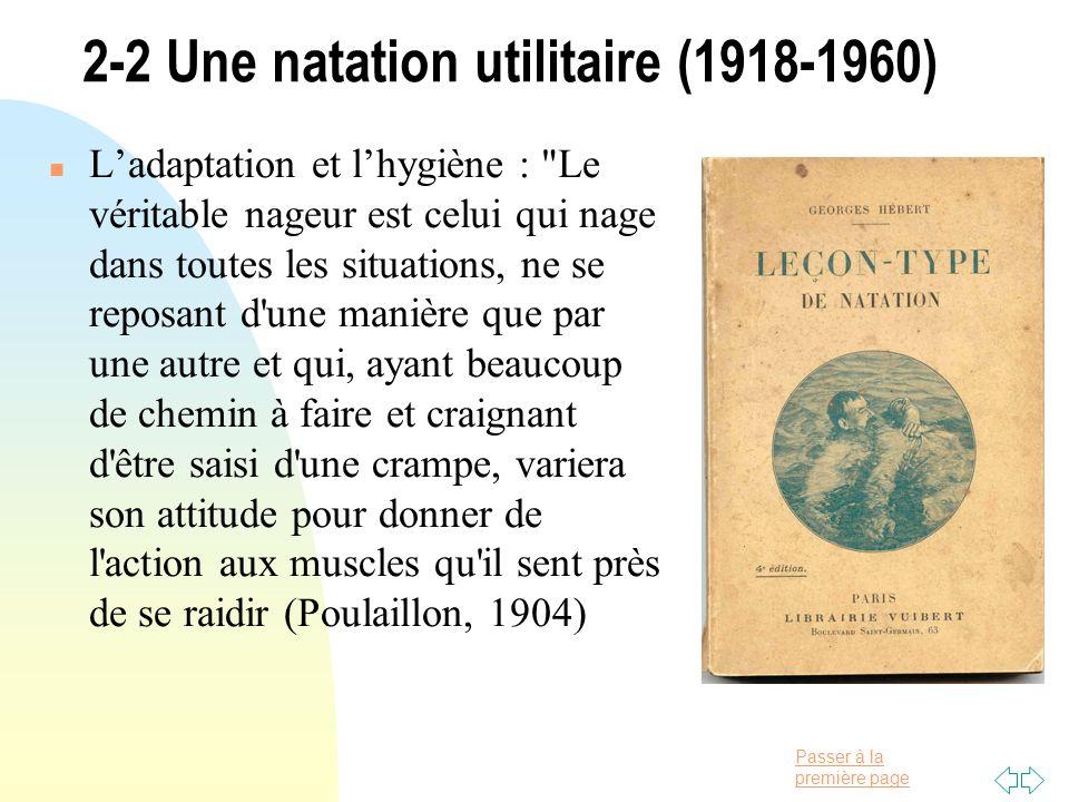 2-2 Une natation utilitaire (1918-1960)
