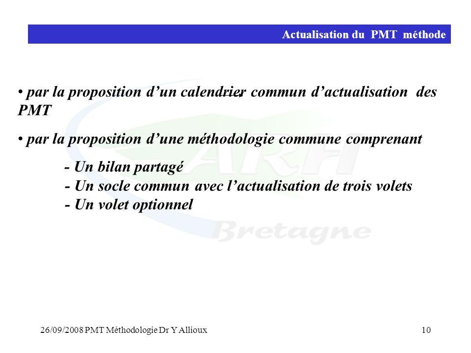 par la proposition d'un calendrier commun d'actualisation des PMT
