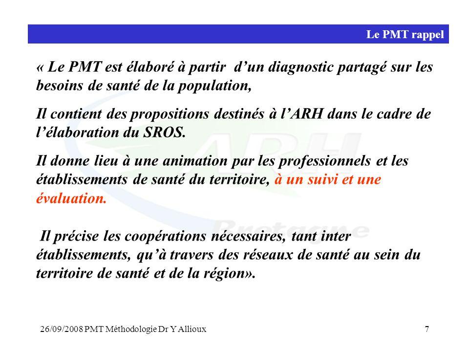 Le PMT rappel « Le PMT est élaboré à partir d'un diagnostic partagé sur les besoins de santé de la population,
