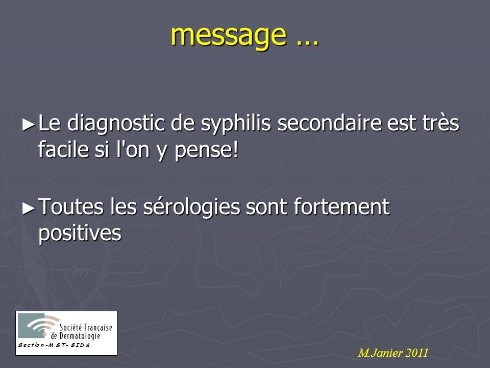message … Le diagnostic de syphilis secondaire est très facile si l on y pense! Toutes les sérologies sont fortement positives.