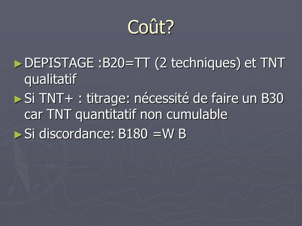 Coût DEPISTAGE :B20=TT (2 techniques) et TNT qualitatif