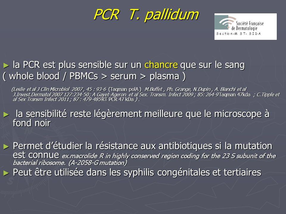PCR T. pallidum S. e. c. t. io. n. -M. T- I. D. A. la PCR est plus sensible sur un chancre que sur le sang.
