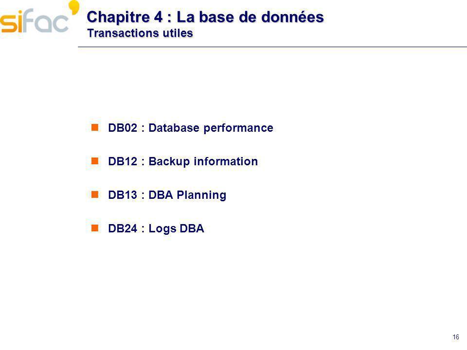 Chapitre 4 : La base de données Transactions utiles
