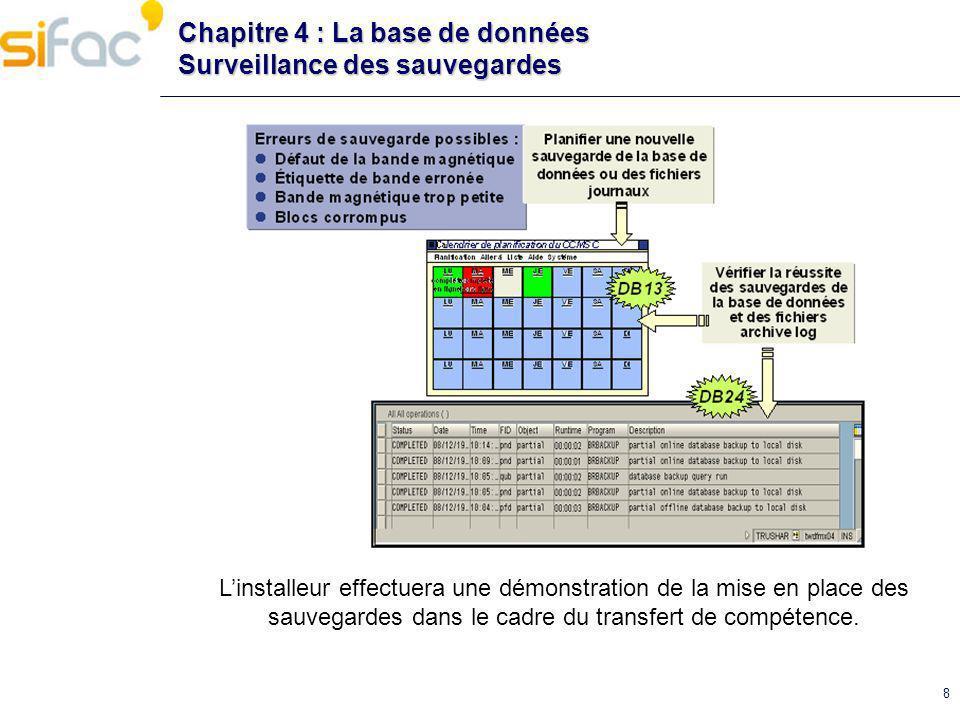 Chapitre 4 : La base de données Surveillance des sauvegardes