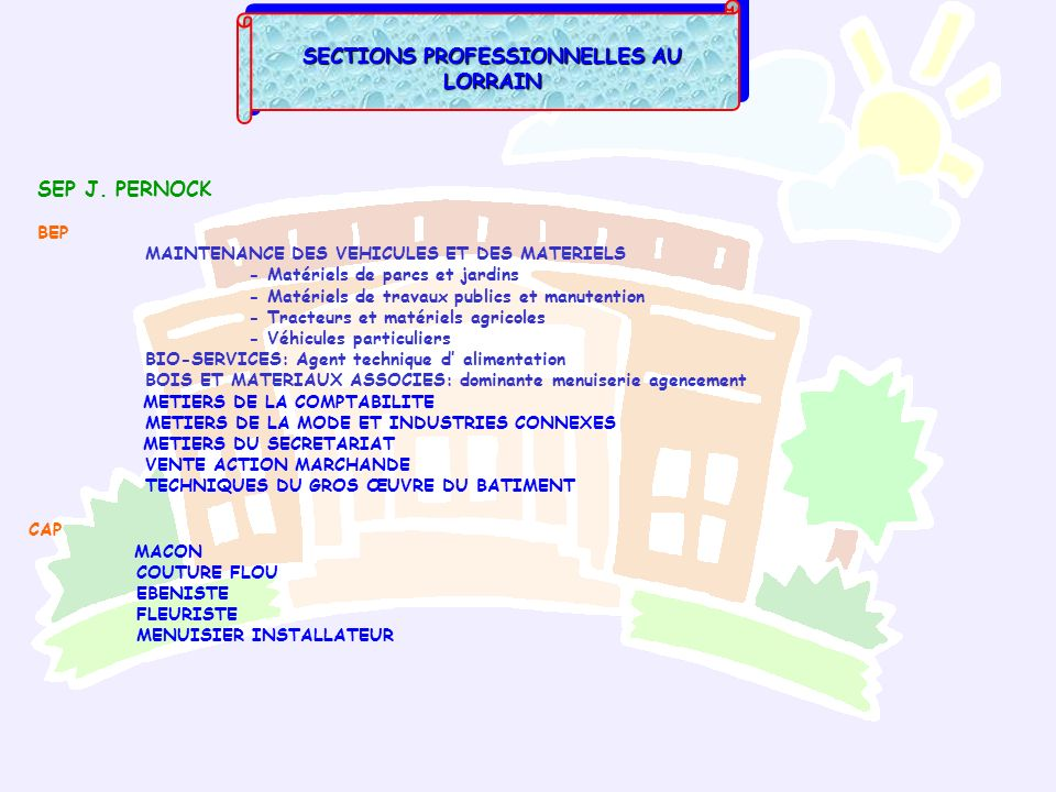 SECTIONS PROFESSIONNELLES AU LORRAIN