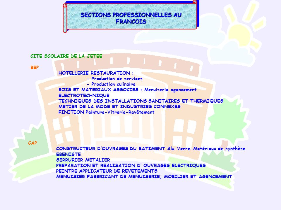 SECTIONS PROFESSIONNELLES AU FRANCOIS