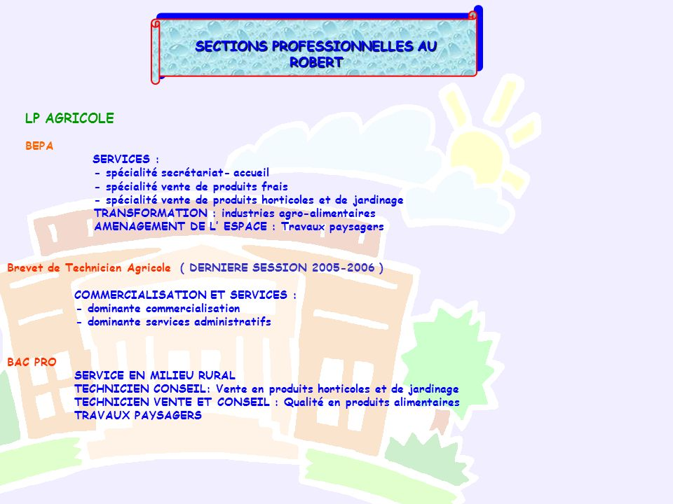 SECTIONS PROFESSIONNELLES AU ROBERT