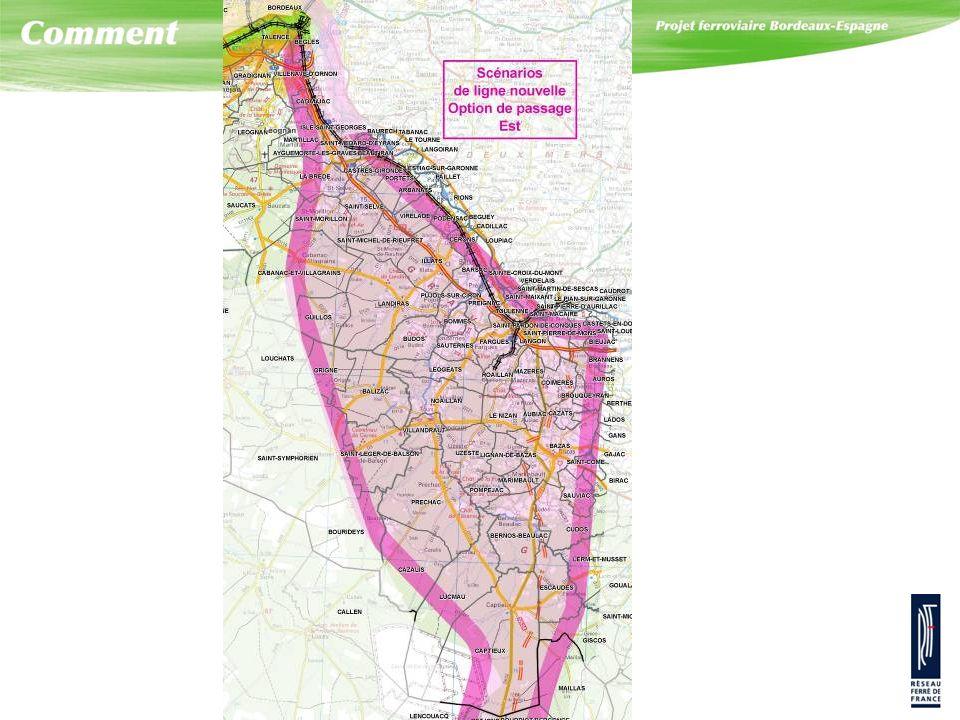 Ce secteur est concerné principalement par le scénario n° 3, c'est-à-dire le scénario de ligne nouvelle sortant par l'est de l'agglomération de Bordeaux dont le « corridor » de passage correspond à la zone en violet.