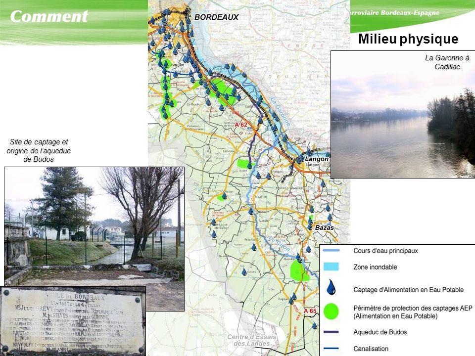 Milieu physique La Garonne à Cadillac. Site de captage et. origine de l'aqueduc. de Budos.