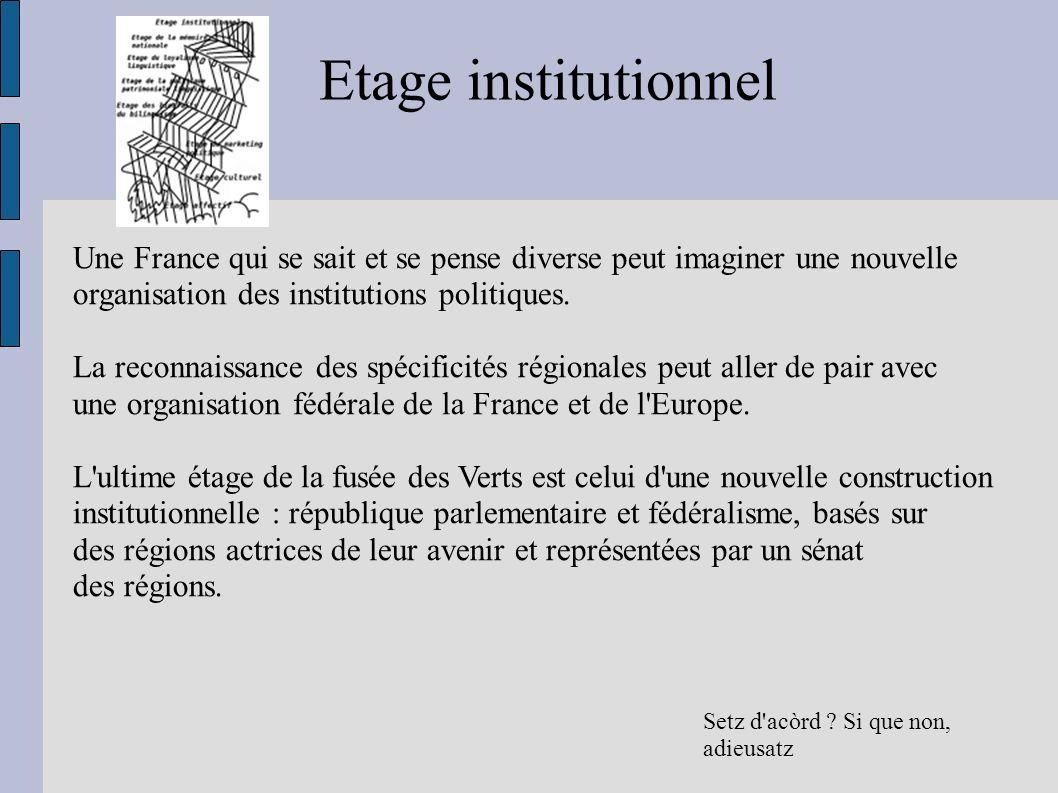 Etage institutionnel Une France qui se sait et se pense diverse peut imaginer une nouvelle. organisation des institutions politiques.