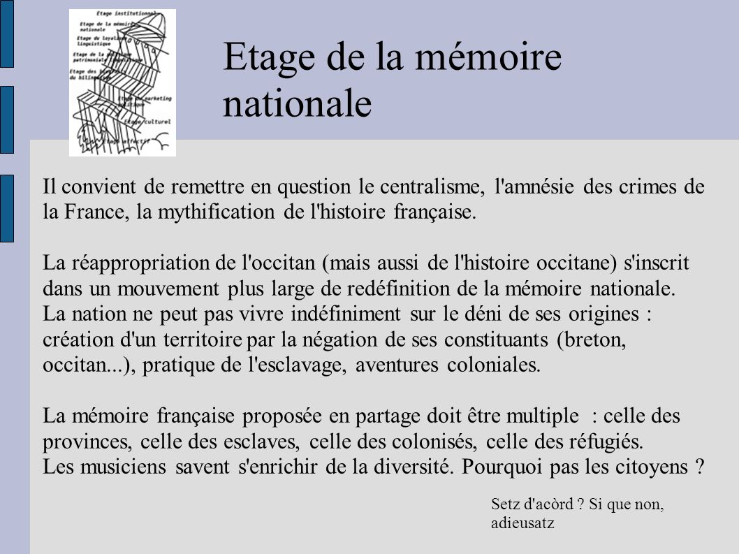 Etage de la mémoire nationale