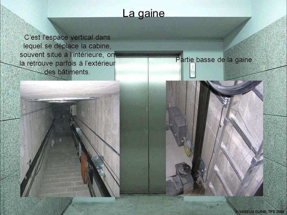 La gaine C'est l espace vertical dans lequel se déplace la cabine, souvent situé à l'intérieure, on la retrouve parfois à l'extérieur des bâtiments.