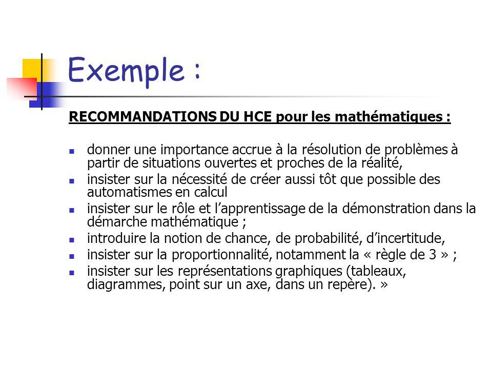 Exemple : RECOMMANDATIONS DU HCE pour les mathématiques :