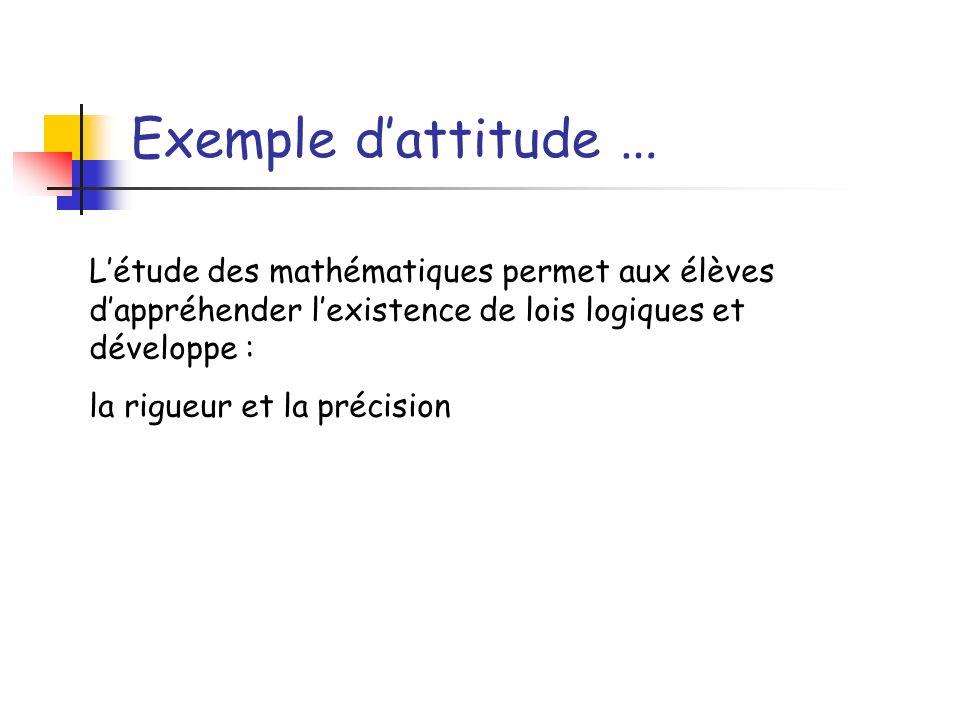 Exemple d'attitude …L'étude des mathématiques permet aux élèves d'appréhender l'existence de lois logiques et développe :
