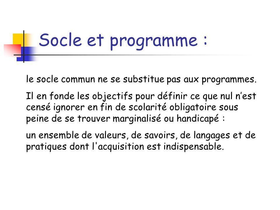 Socle et programme : le socle commun ne se substitue pas aux programmes.
