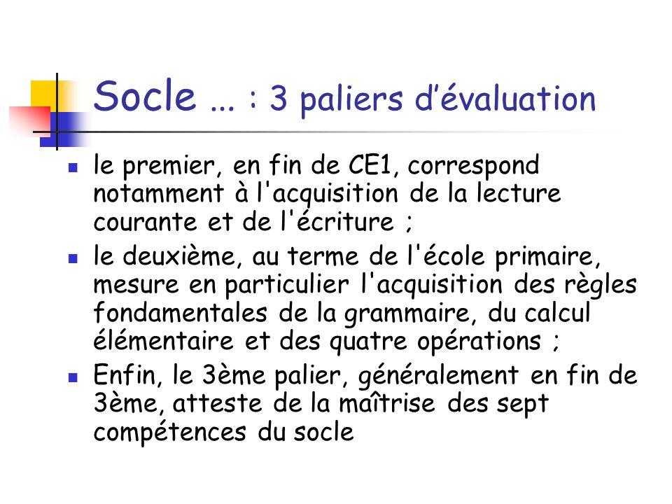 Socle … : 3 paliers d'évaluation