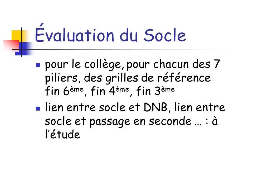 Évaluation du Socle pour le collège, pour chacun des 7 piliers, des grilles de référence fin 6ème, fin 4ème, fin 3ème.
