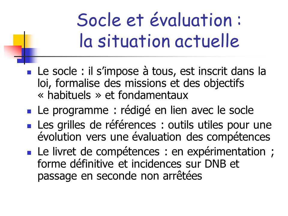 Socle et évaluation : la situation actuelle