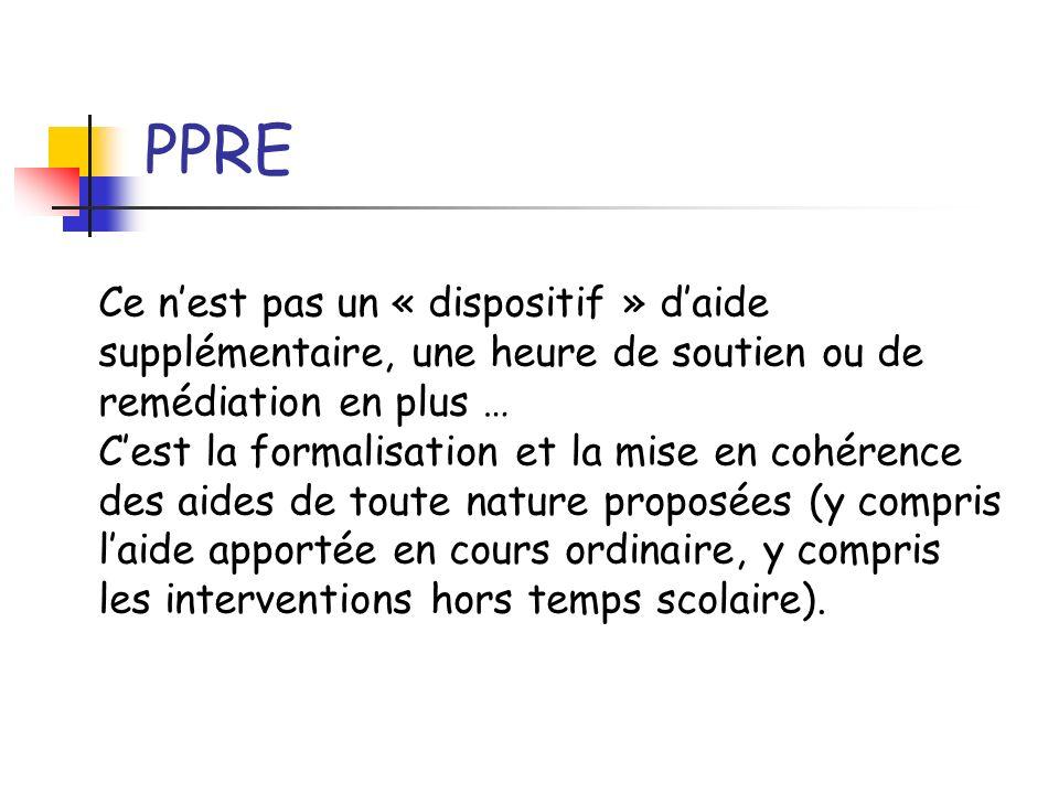 PPRECe n'est pas un « dispositif » d'aide supplémentaire, une heure de soutien ou de remédiation en plus …