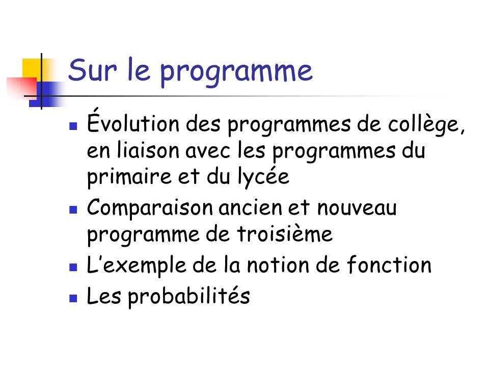 Sur le programmeÉvolution des programmes de collège, en liaison avec les programmes du primaire et du lycée.
