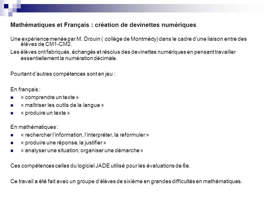 Mathématiques et Français : création de devinettes numériques