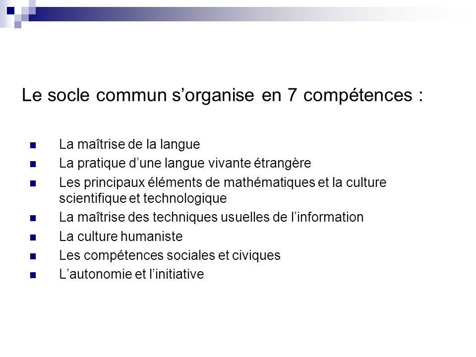 Le socle commun s'organise en 7 compétences :