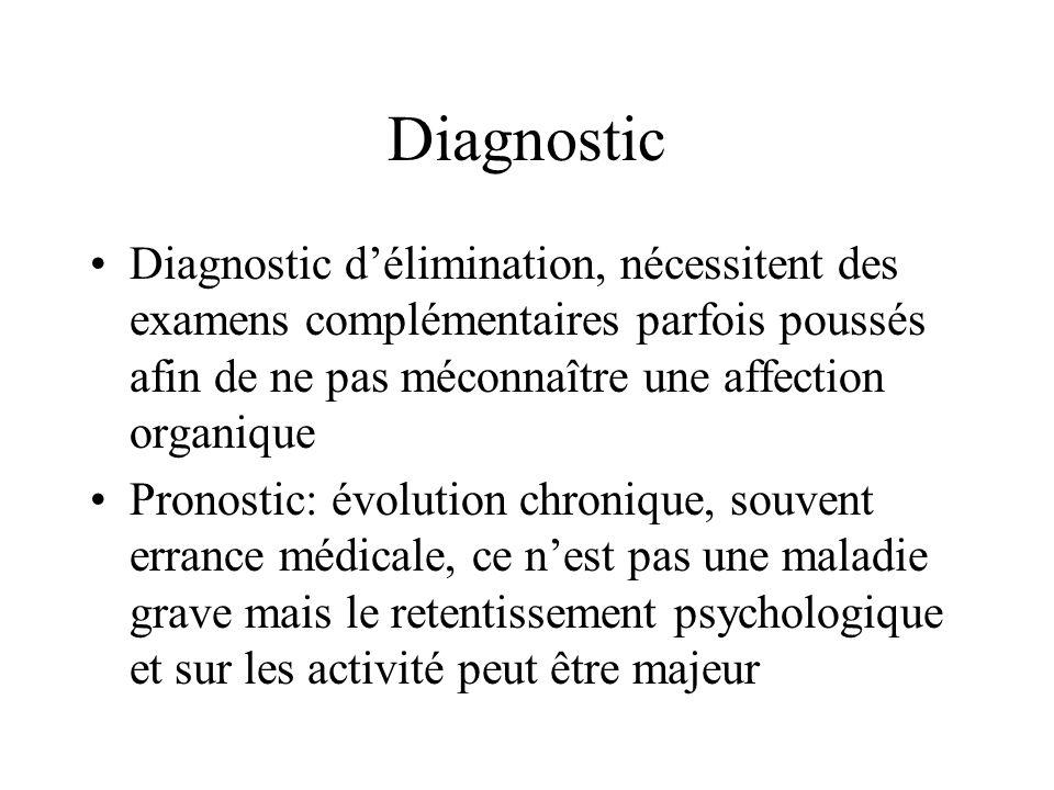 Diagnostic Diagnostic d'élimination, nécessitent des examens complémentaires parfois poussés afin de ne pas méconnaître une affection organique.