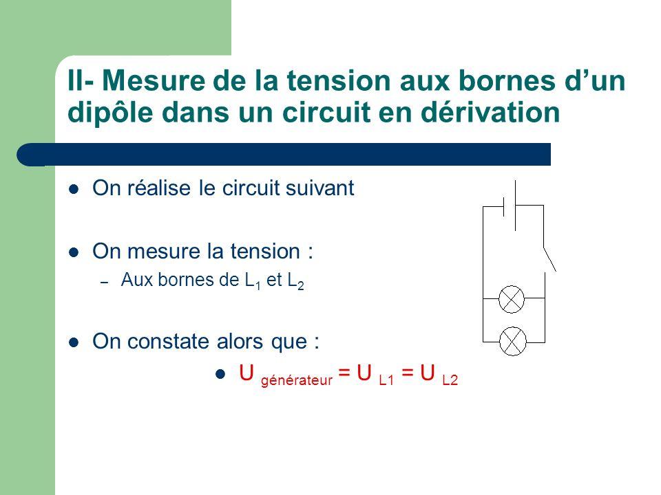 II- Mesure de la tension aux bornes d'un dipôle dans un circuit en dérivation