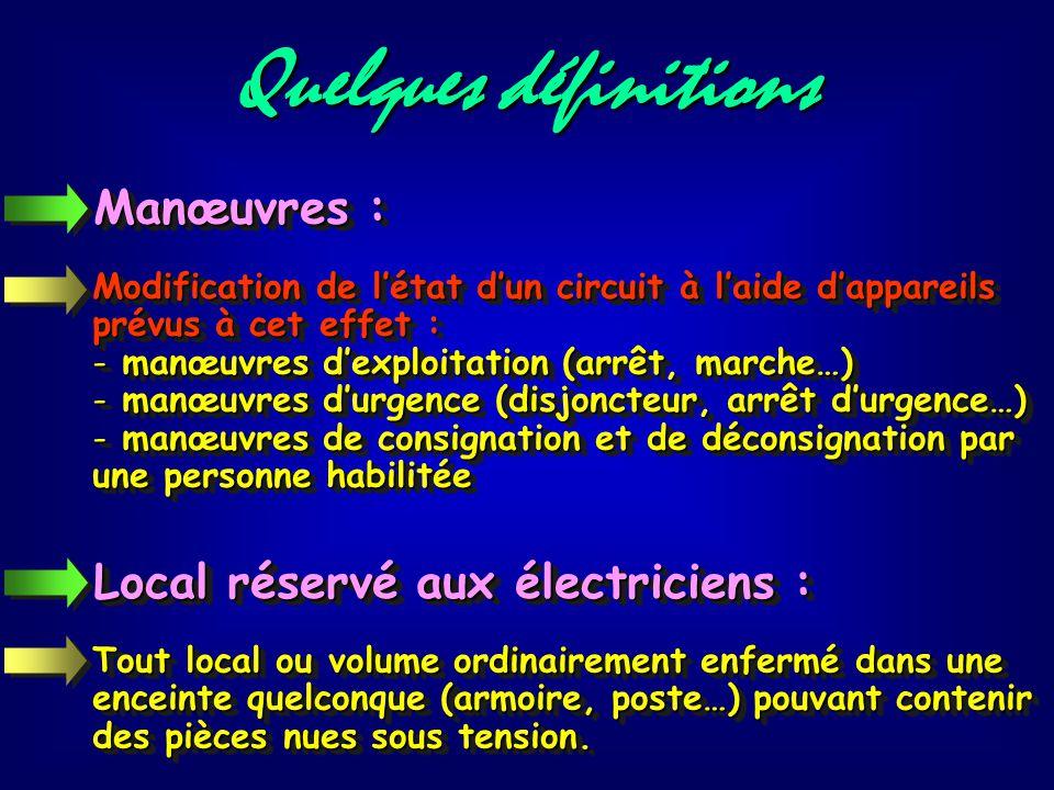 Quelques définitions Manœuvres : Local réservé aux électriciens :