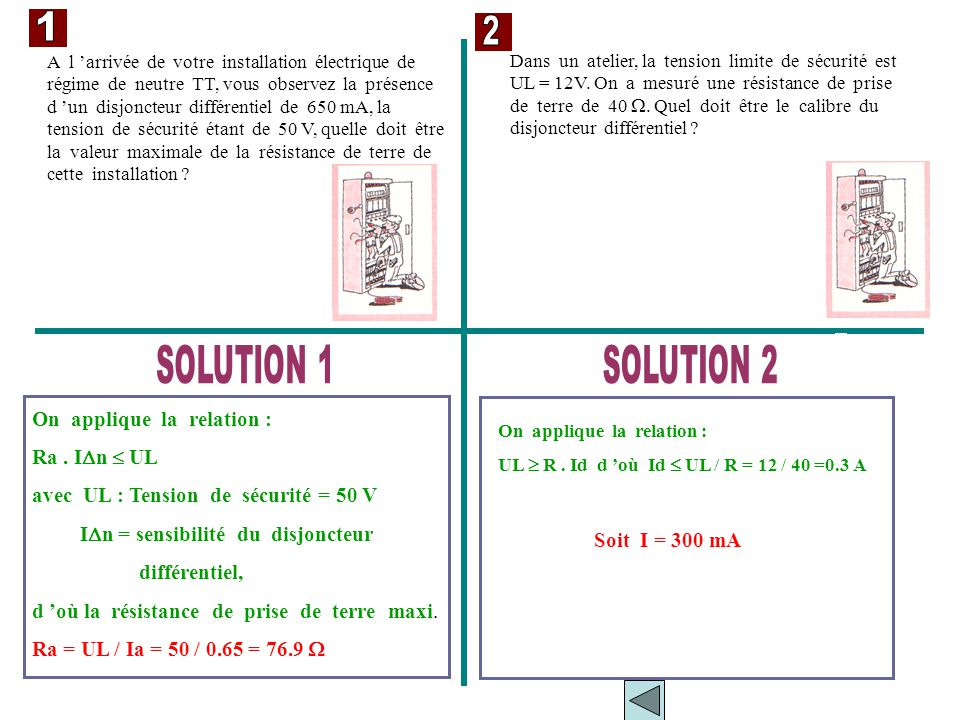 1 2 SOLUTION 1 SOLUTION 2 On applique la relation : Ra . In  UL