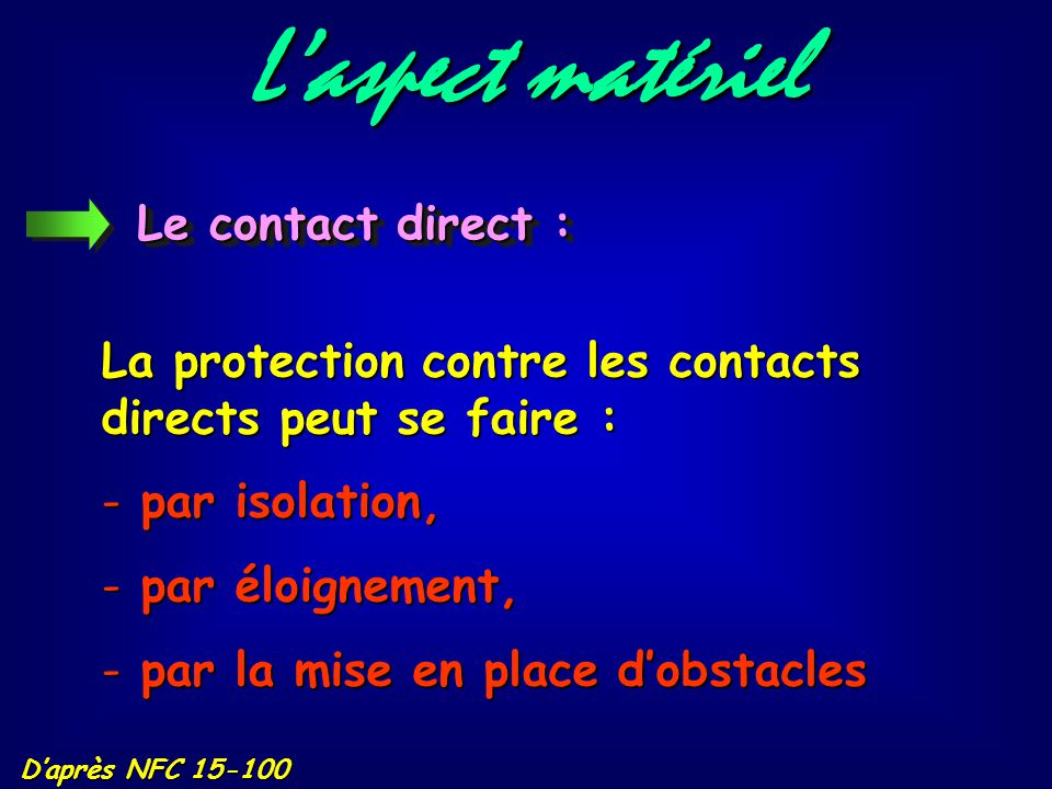 L'aspect matériel Le contact direct :