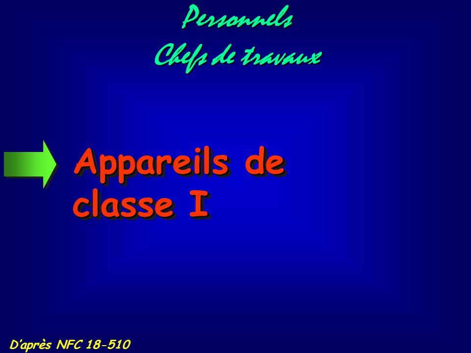 Personnels Chefs de travaux Appareils de classe I D'après NFC 18-510