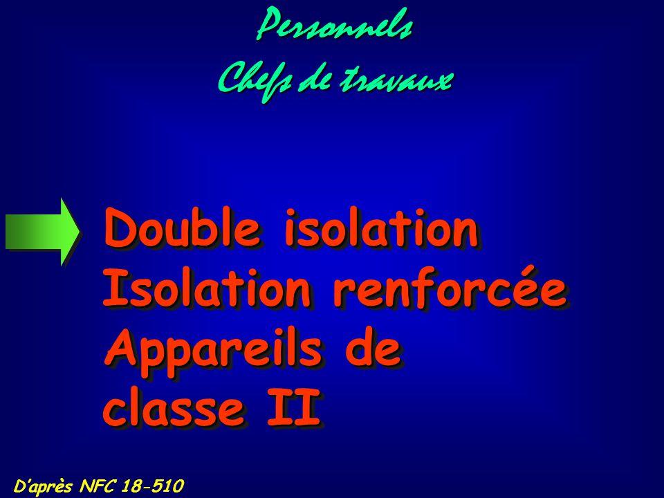 Double isolation Isolation renforcée Appareils de classe II Personnels