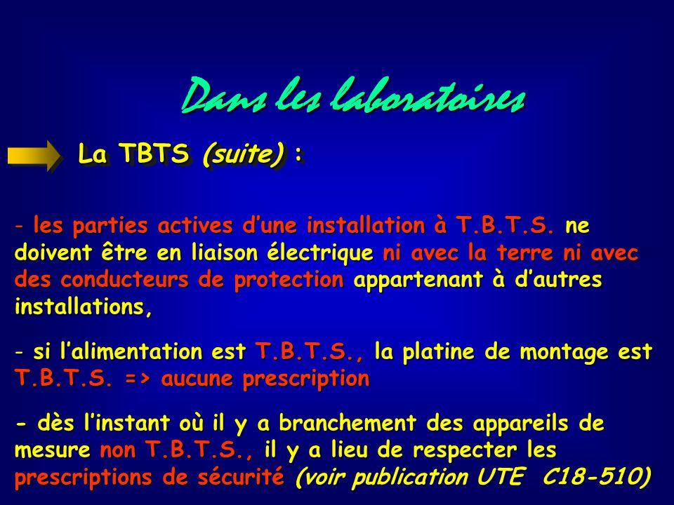 Dans les laboratoires La TBTS (suite) :