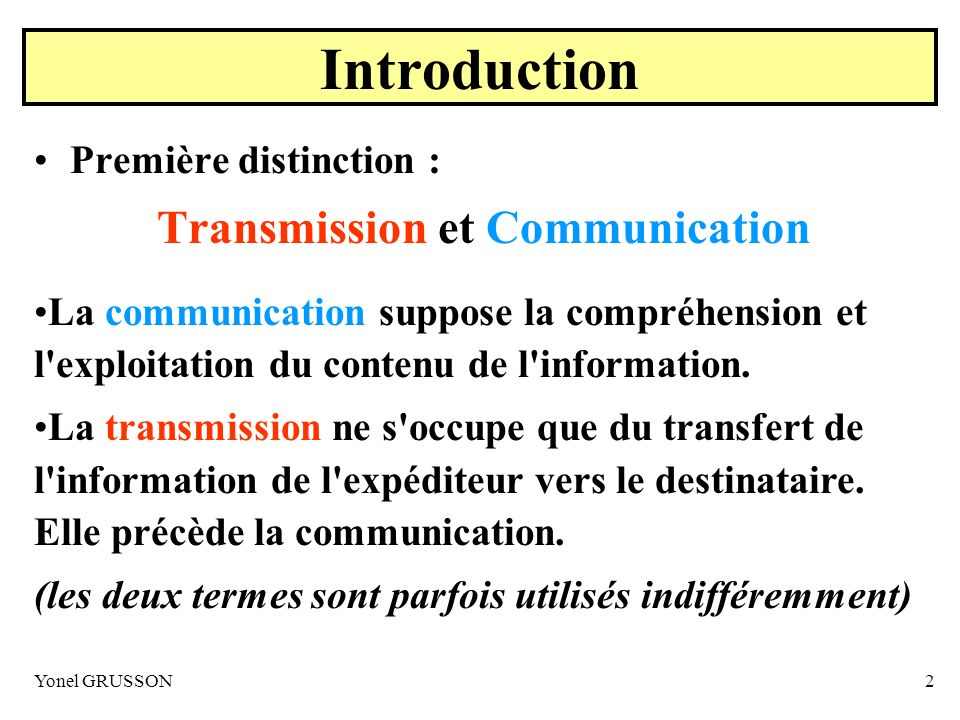 Transmission et Communication