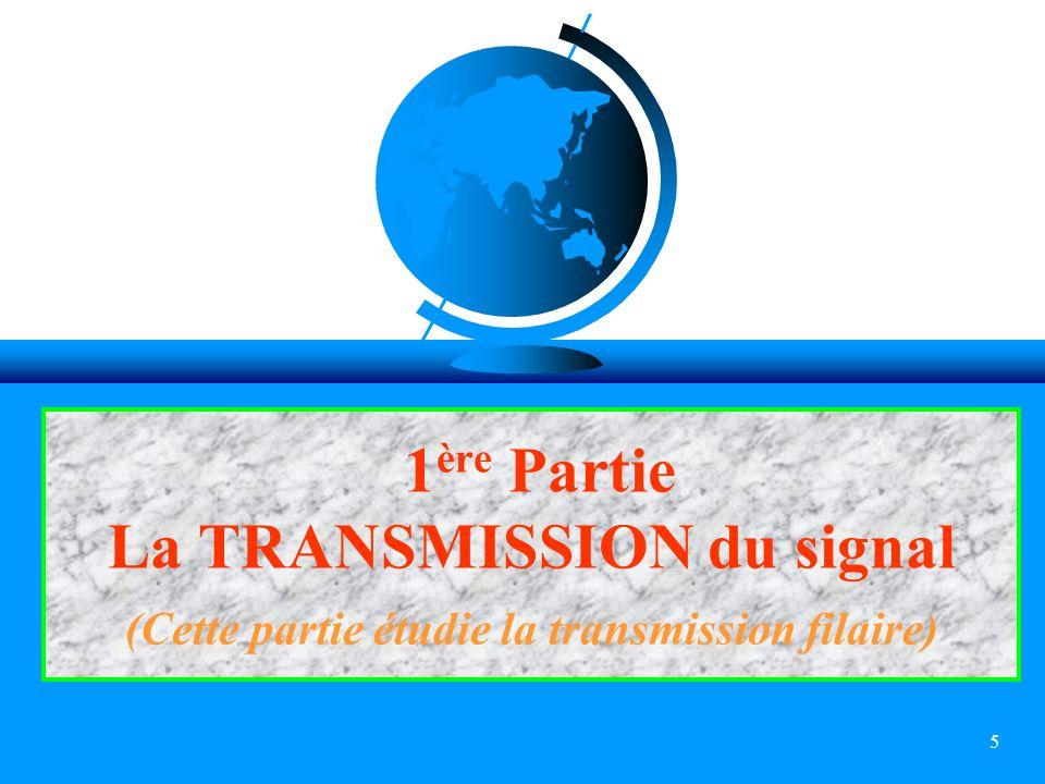 1ère Partie La TRANSMISSION du signal (Cette partie étudie la transmission filaire)