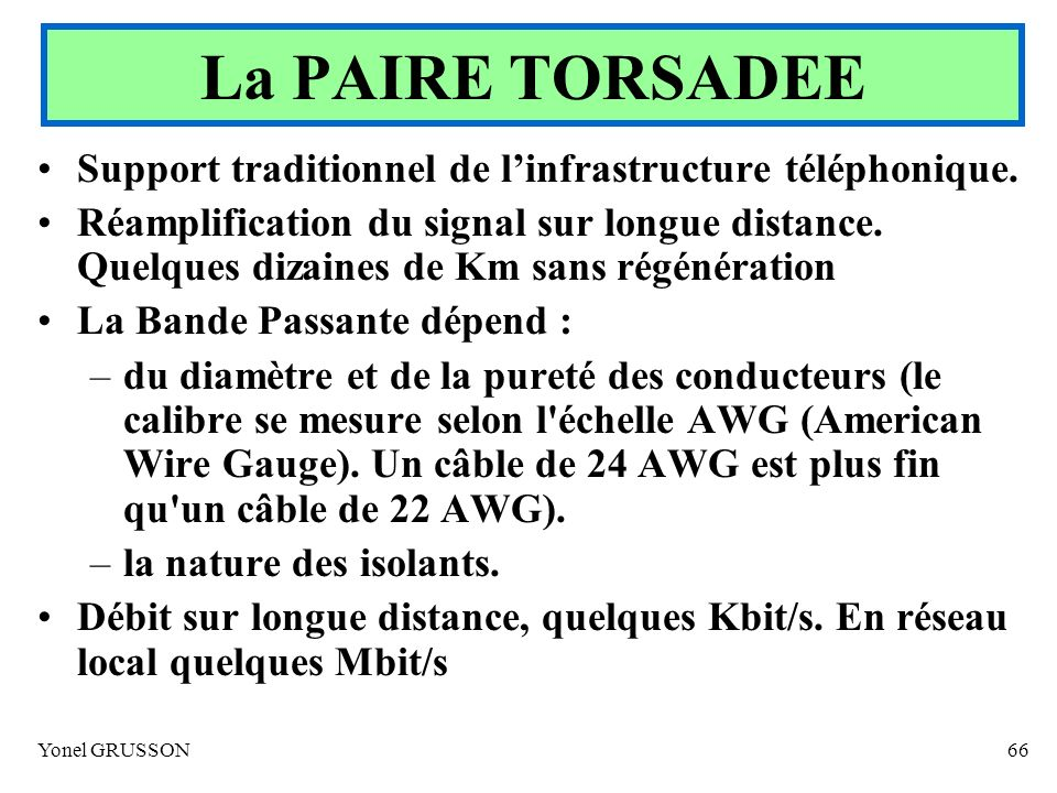 La PAIRE TORSADEE Support traditionnel de l'infrastructure téléphonique.