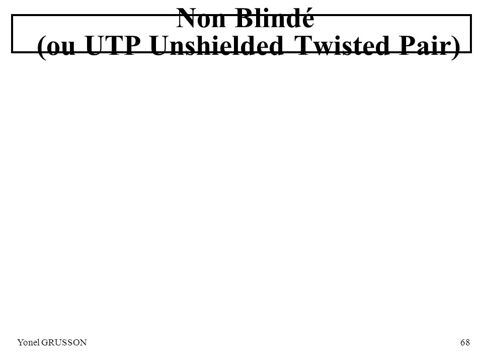 Non Blindé (ou UTP Unshielded Twisted Pair)