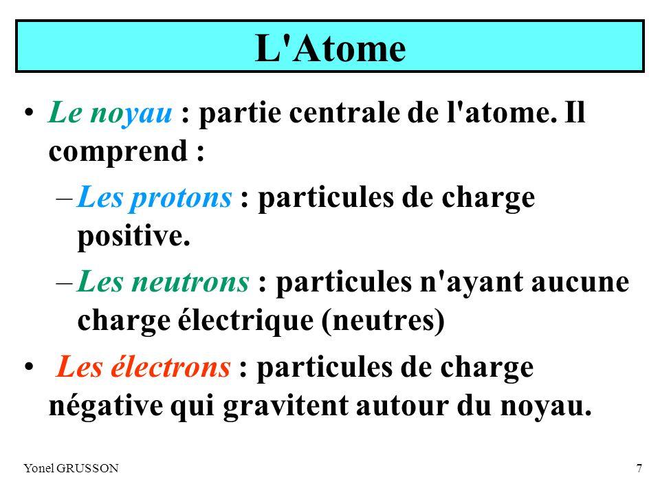 L Atome Le noyau : partie centrale de l atome. Il comprend :
