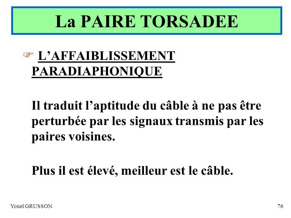 La PAIRE TORSADEE L'AFFAIBLISSEMENT PARADIAPHONIQUE