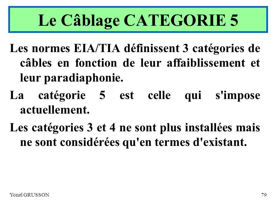 Le Câblage CATEGORIE 5 Les normes EIA/TIA définissent 3 catégories de câbles en fonction de leur affaiblissement et leur paradiaphonie.