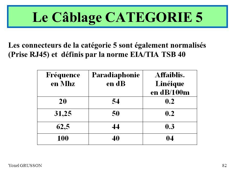 Le Câblage CATEGORIE 5 Les connecteurs de la catégorie 5 sont également normalisés (Prise RJ45) et définis par la norme EIA/TIA TSB 40.