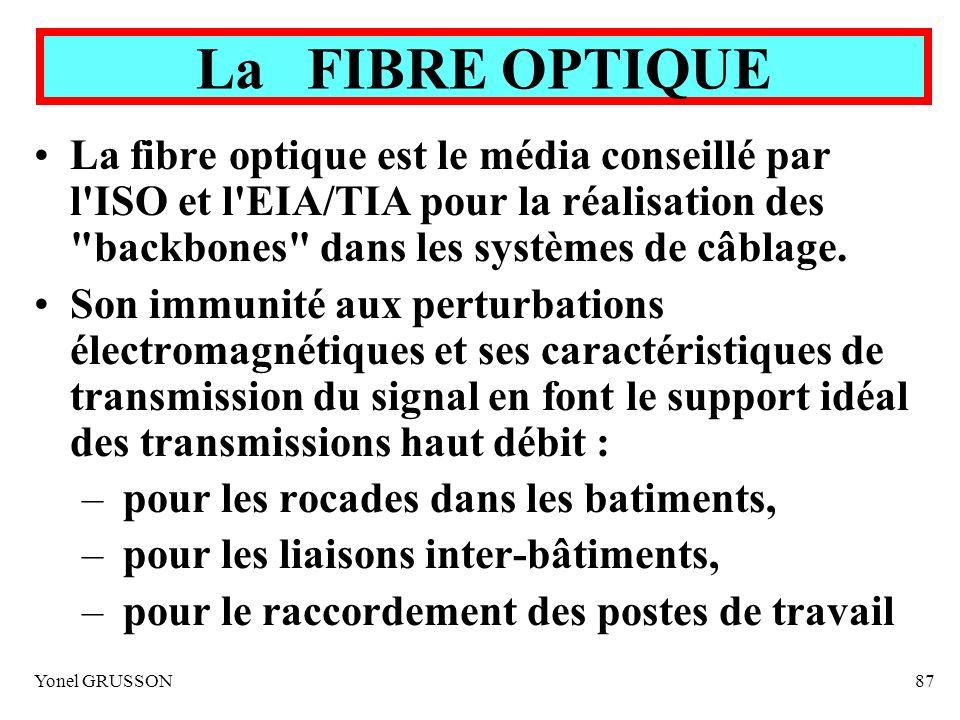 La FIBRE OPTIQUE La fibre optique est le média conseillé par l ISO et l EIA/TIA pour la réalisation des backbones dans les systèmes de câblage.