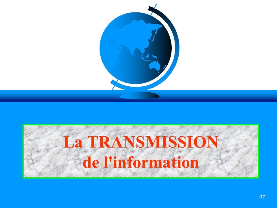 La TRANSMISSION de l information