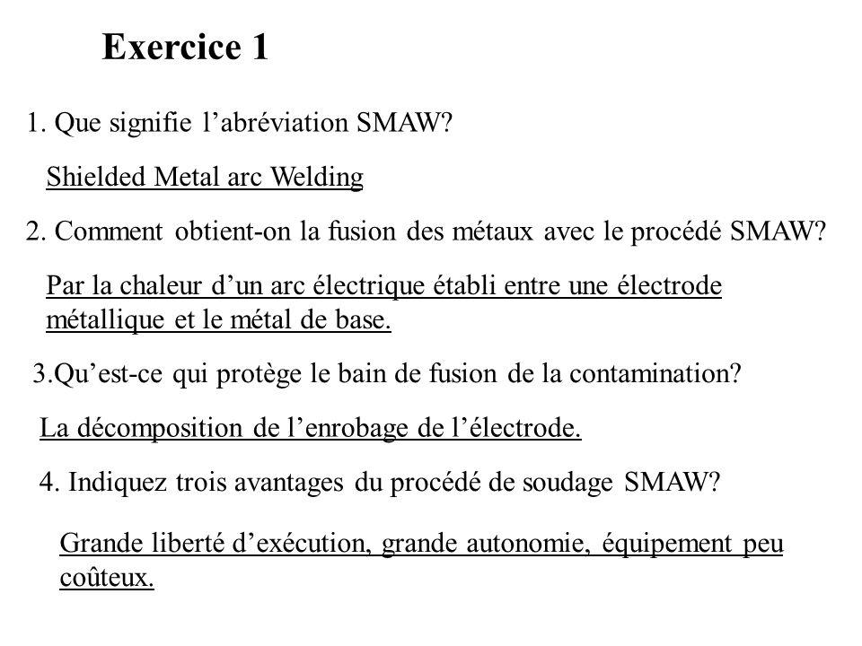 Exercice 1 1. Que signifie l'abréviation SMAW