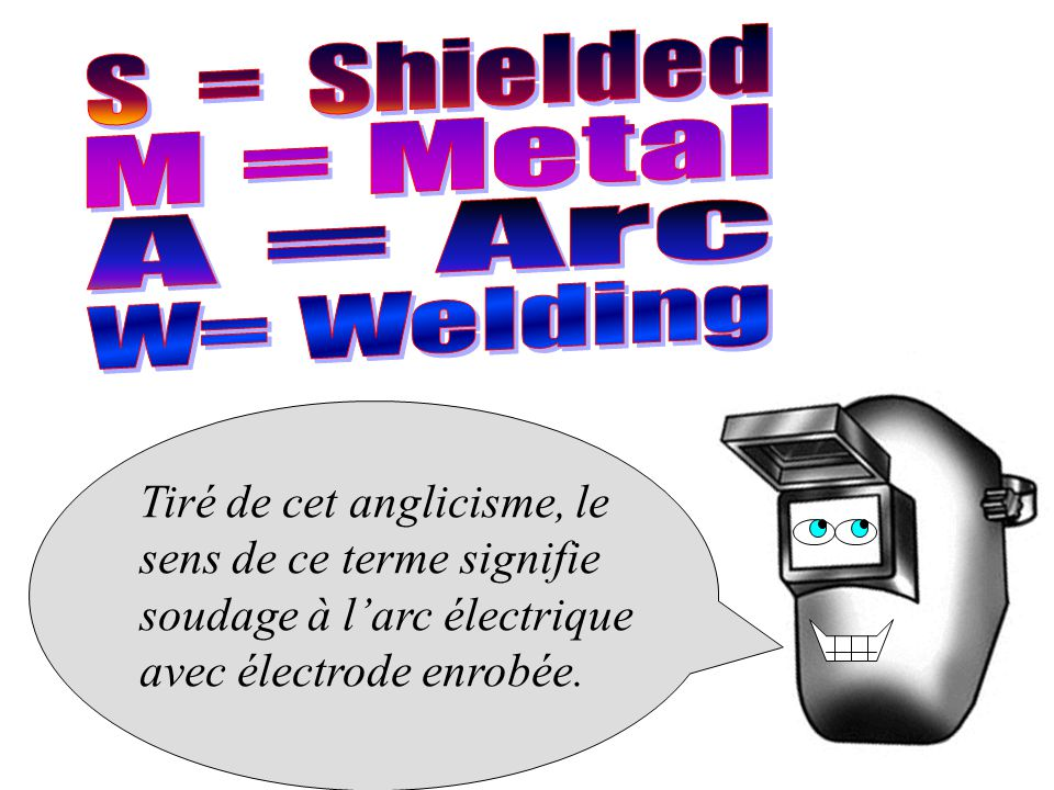 S = Shielded M = Metal A = Arc W= Welding