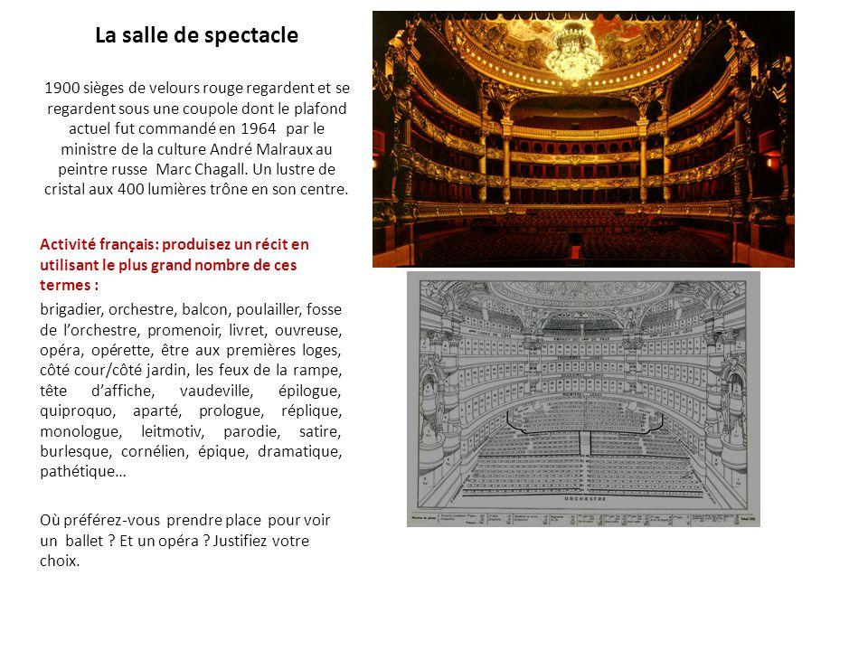 La salle de spectacle 1900 sièges de velours rouge regardent et se regardent sous une coupole dont le plafond actuel fut commandé en 1964 par le ministre de la culture André Malraux au peintre russe Marc Chagall. Un lustre de cristal aux 400 lumières trône en son centre.