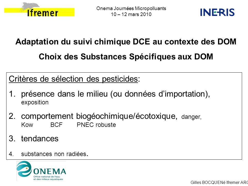 Adaptation du suivi chimique DCE au contexte des DOM