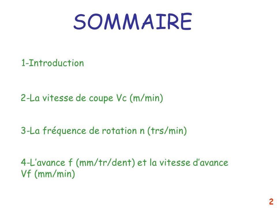 SOMMAIRE 1-Introduction 2-La vitesse de coupe Vc (m/min)
