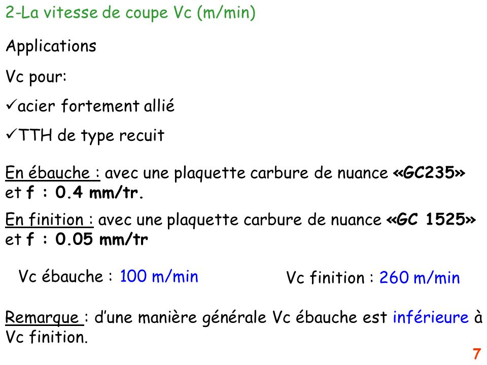 2-La vitesse de coupe Vc (m/min)